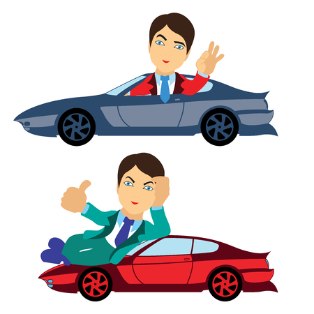Set of two happy men in suit with nice cars, conceptual cartoon vector illustration