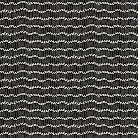 Seamless pattern with zigzag and wavy lines in monochrome colors, vector handmade