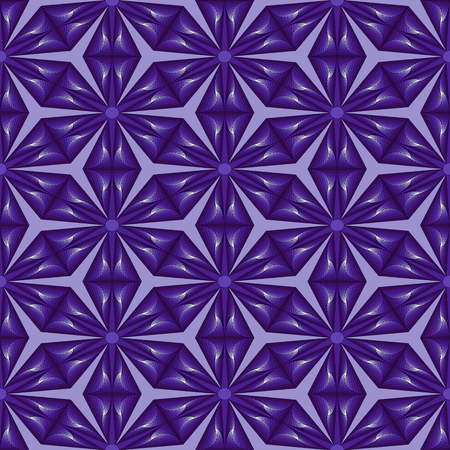 Geometric seamless pattern like a pseudo 3D image with smooth transition violet hues, vector handmade Ilustração