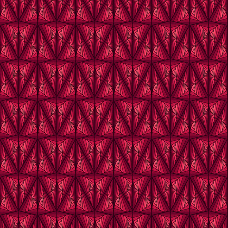 Seamless abstract geometric pattern like a pseudo 3D image with smooth transition in magenta hues, vector handmade