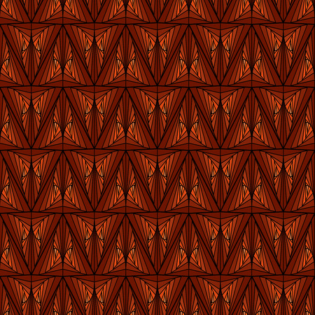 Seamless abstract geometric pattern with pseudo 3D visual effect in brown and orange hues, vector handmade Ilustração