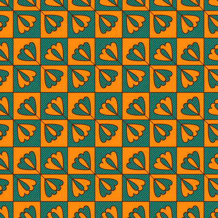 Geometrical seamless vector pattern with lines and flowers in turquoise and orange colors as a fabric texture