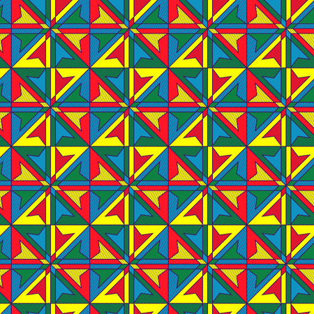 Geometrical contrast seamless pattern in red, yellow, blue and green colors, vector as a fabric texture
