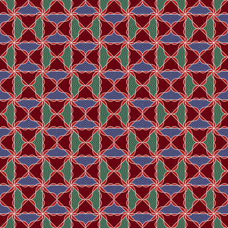 Ornamental seamless vector pattern in red, orange, blue and green colors as a fabric texture
