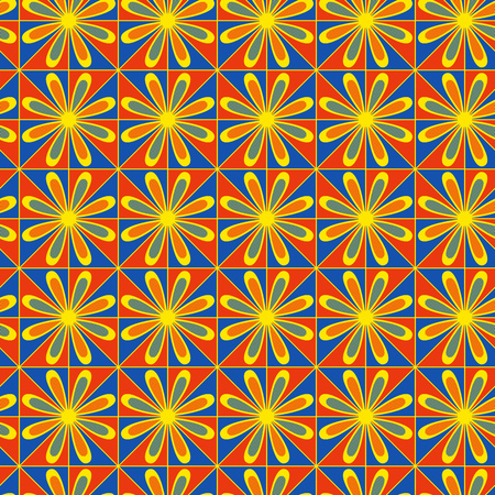 Seamless vector ornate pattern in blue, orange and yellow colors with flowers as a fabric texture
