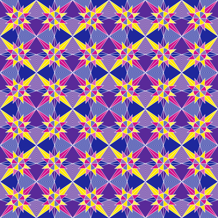 Multicolor ornate seamless patchwork vector pattern as a fabric texture