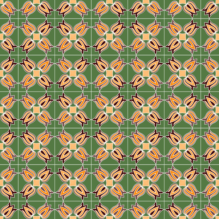 Chequered ornamental seamless pattern with flowers in red and orange colors on the muted green background, vector as a fabric texture Stock Illustratie