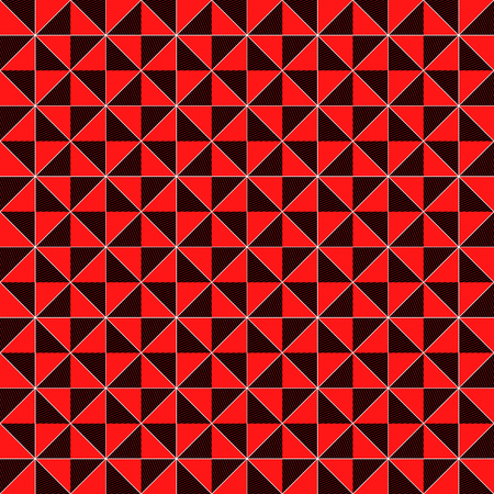Contrast geometrical decorative seamless vector pattern in red, black and white color, vector as a fabric texture Imagens - 122142573