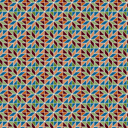 Geometrical ornate seamless vector pattern as a fabric texture in blue, orange, red and green colors