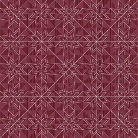 Geometrical ornate seamless vector pattern in magenta and dark red colors as a fabric texture in various colors
