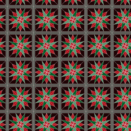 Ornate seamless vector pattern in green and red hues as a fabric texture Illustration