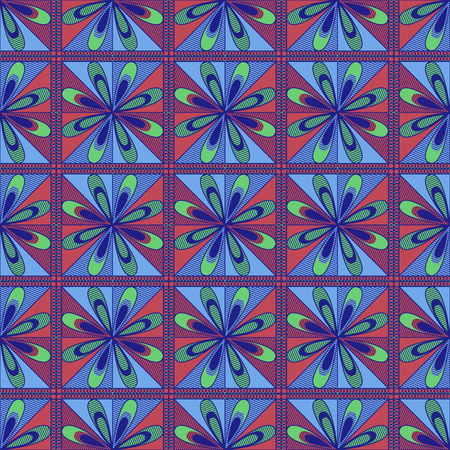 Ornamental seamless vector pattern in blue, red and green colors with flowers as a fabric texture in various colors Stock Illustratie