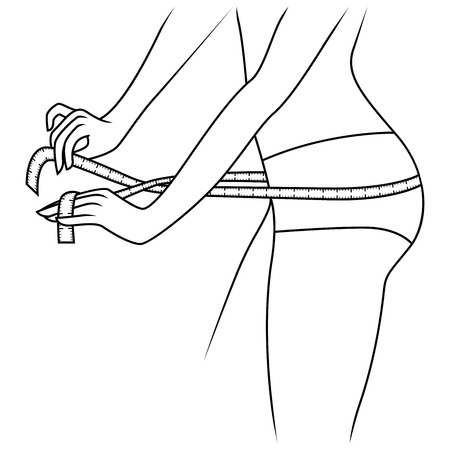 Woman measuring the size of her thigh with tape measure, outline vector artwork