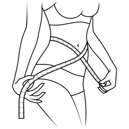 Abstract beautiful woman standing and measuring the sizes of her waist with tape measure, outline vector artwork 向量圖像