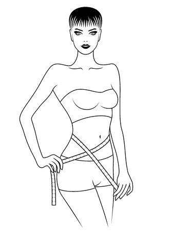 Charming girl measuring the size of her waist with tape measure, outline vector artwork Illustration