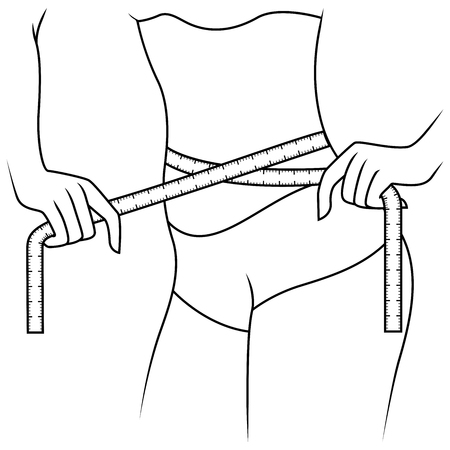 Girl measuring the size of her waist with tape measure, outline vector artwork