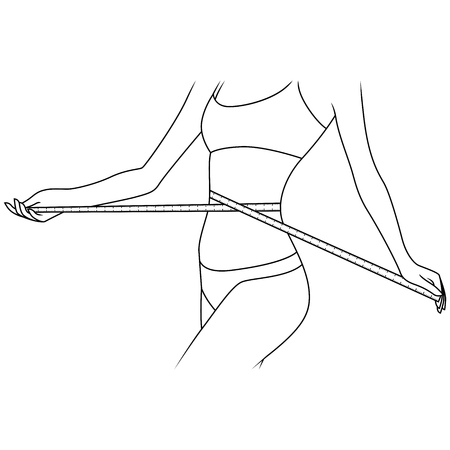 Slim beautiful girl with tape measure around her body showing what she is thin, outline vector artwork