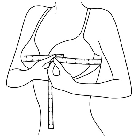 Woman measuring the size of her chest with tape measure, outline vector artwork