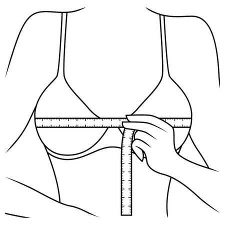 Lady measuring the size of her chest with tape measure, outline vector artwork Ilustração