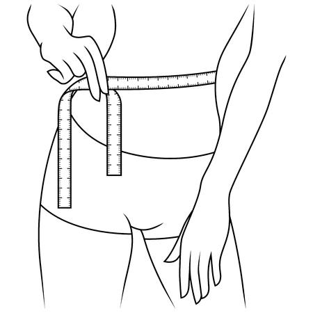 Piękna szczupła dziewczyna mierząca rozmiar talii za pomocą taśmy mierniczej, grafika wektorowa zarysu Ilustracje wektorowe