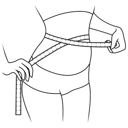 Slender girl with tape measure around her body showing what she is thin, outline vector artwork