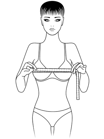 Slim girl measuring the size of her chest with tape measure, outline vector illustration