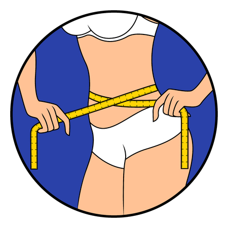 Abstract slender woman using a tape measure to measure her waist size, hand drawing vector illustration in circle isolated over white 矢量图像