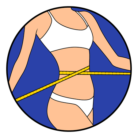 Ragazza snella che misura le dimensioni della sua vita con un metro a nastro, disegno a mano illustrazione vettoriale in cerchio isolato su bianco