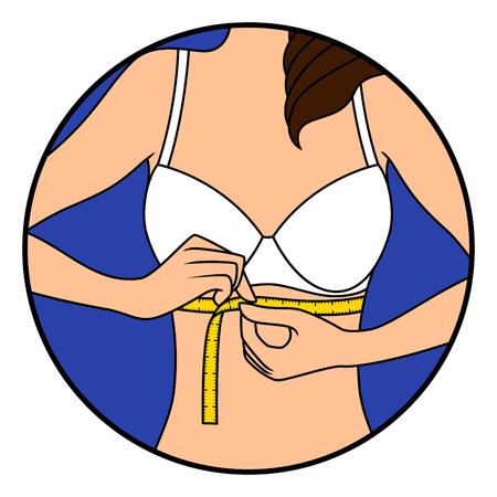 Abstract slim girl tape the size of her chest, hand drawing vector illustration in circle isolated over white Vettoriali