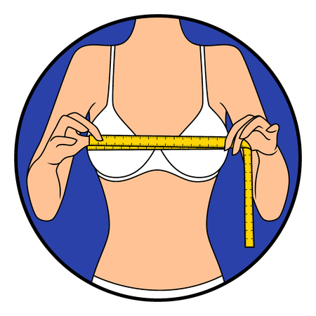 Abstract slender girl tape the size of her chest, hand drawing vector illustration in circle isolated over white Vektoros illusztráció