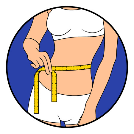 Girl measuring the size of her waist with tape measure, hand drawing vector illustration in circle isolated over white Vettoriali