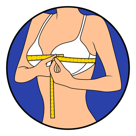 Beautiful woman measuring the size of her chest with tape measure, hand drawing vector illustration in circle isolated over white