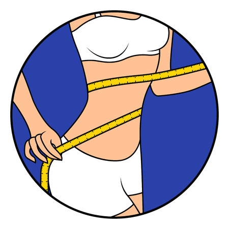 Slim beautiful woman with tape measure around her body showing what she is thin, hand drawing vector illustration in circle isolated over white