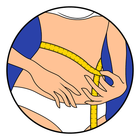 Woman measuring the size of her waist with tape measure, hand drawing vector illustration in circle isolated over white
