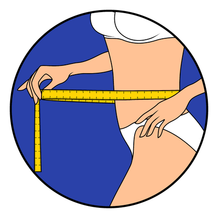 Slim beautiful girl with tape measure around her body showing what she is thin, hand drawing vector illustration in circle isolated over white