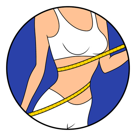 Slender girl with tape measure around her body showing what she is thin, hand drawing vector illustration in circle isolated over white