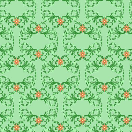 Delicate seamless vector antique floral pattern of Victorian style in green hues with orange flowers as a fabric texture