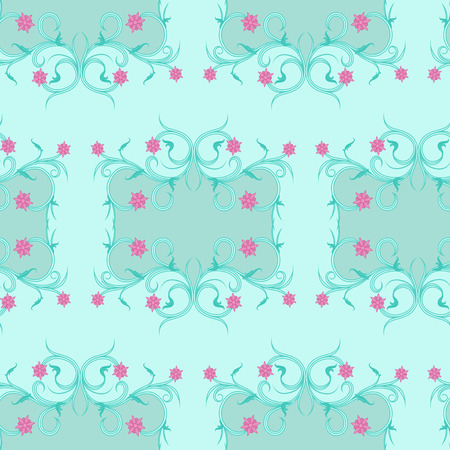 Seamless vector antique floral ornament of Victorian style in pale blue hues with pink flowers as a fabric texture