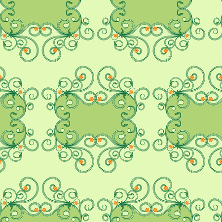 Delicate floral antique ornament in green hues with orange flowers to the mute background, seamless vector as fabric texture