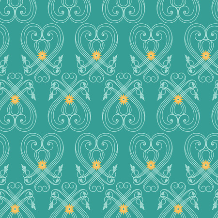 Seamless vector antique pattern with floral turquoise ornament on the mute background as a fabric texture
