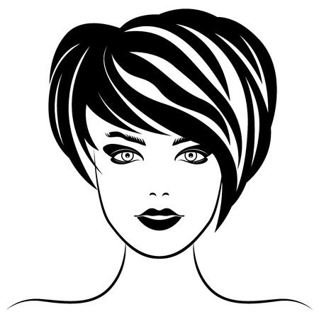 Original stylized graphic illustration of woman's face with abstract luxuriant hair and with distinctive eyes, vector for cosmetic products design Banque d'images - 121961792