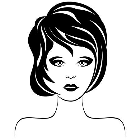 Belle et sérieuse femme avec une coupe de cheveux élégante et des yeux expressifs, vecteur de dessin à la main pour la conception de produits cosmétiques