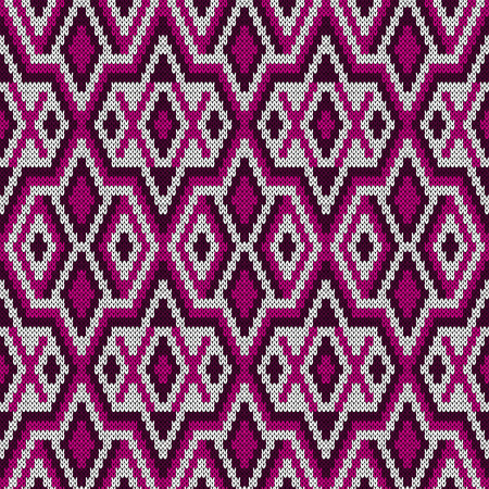 Seamless knitted ornate vector pattern in pink, magenta and white colors as a fabric texture