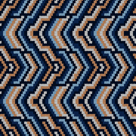Geometrical ornate seamless knitted vector pattern as a fabric texture in mute blue and beige hues Stock Illustratie