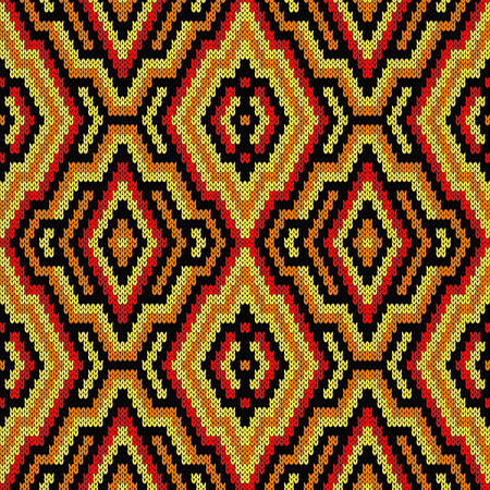 Geometrical ornate seamless knitted vector pattern as a fabric texture in various colors