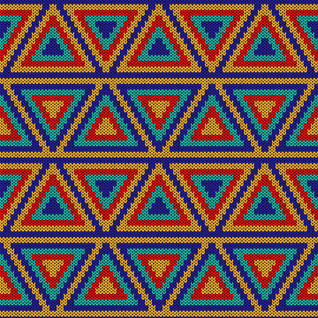 Ornate knitting seamless vector pattern in red, turquoise, orange and blue colors as a fabric texture