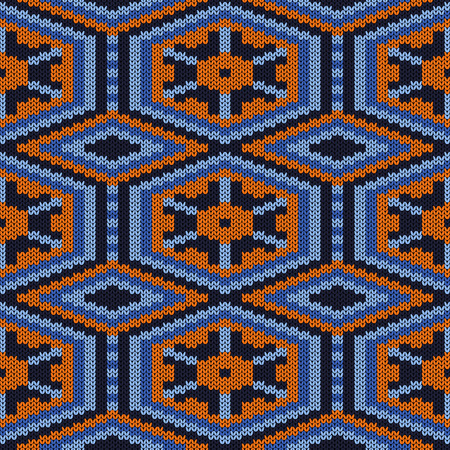 Ornamental knitting seamless vector pattern in blue and orange colors as a fabric texture