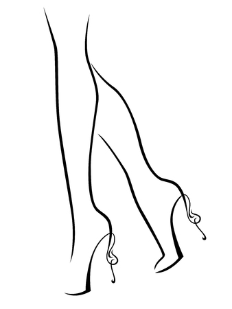 Outline of graceful female feet in shoes with abstract high heels, black over white vector artwork