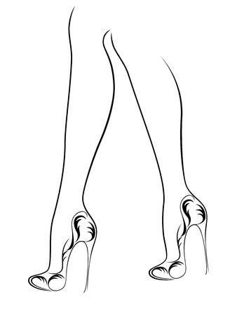 Sketching outline of graceful female feet in elegant shoes with abstract heels, black over white vector artwork Ilustração