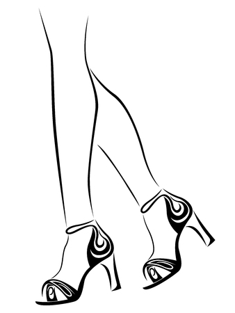 Outline of graceful female feet in shoes with abstract heels, black over white vector artwork